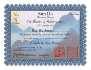 Sun Do Black Belt Certificate